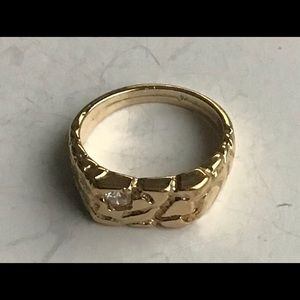 Women Vintage Gold Nugget Ring Rhinestone